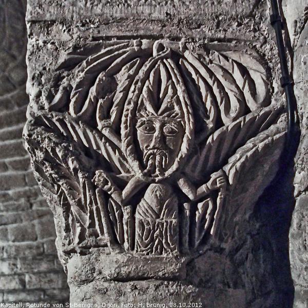 Kerbschnitt-Kapitell in der sog. Krypta von St-Bénigne, Dijon, um 1000 [Brünig]