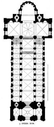 Dom Speyer II; im Bild oberhalb der Vierungskuppel (Klostergewölbe) die Tonnenwölbung zwischen den beiden Türmen [wiki: Speyerer Dom]