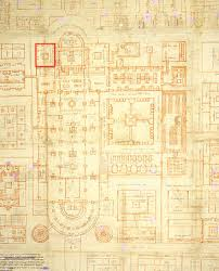 Ausschnitt aus dem Idealplan von St. Gallen, rot gekennzeichnet der Choranbau für Skriptorium (unten) und Bibliothek (oben), herkömmlich datiert auf 830 [kulturschnitte]