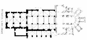 Tournus, St-Philibert: Links die Vorkirche mit Kreuzgratgewölben über dem Mittelschiff (bis 1040); in der Mitte die Hauptkirche mit fünf quergestellten Tonnen auf Schwibbögen (1070; rechts der Chor des 12. Jh. [archinform]