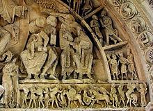 """Portal von Vézelay: Am rechten Rand ein Kentaur als """"Schütze"""", im Tympanon rechts unten ein Krieger zu Pferde; 1120‒1140 [en.wikipedia.org]"""