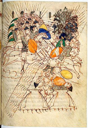 Leidener Makkabäer-Psalter, frühes 10. Jh. [wiki]. Links ein Berittener mit Steigbügel, rechts unterlegener Reiter ohne Steigbügel