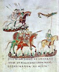 St. Gallen, Stiftsbibliothek, Cod. Sang. 22, p. 140 [e-codices]: Reiter mit Steigbügeln (teils gestrecktes, teils angewinkeltes Bein), 883 bis 900