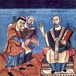 Rabanus Maurus und Alkuin vor dem hl. Martin; Manuskript aus Fulda um 830/40 [Wien, ÖNB cod. 652, fol. 2v]