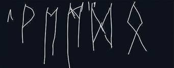Ungelenke Zeichen. Sechs Runen des altgermanischen Alphabets wurden auf einem Viehknochen eingeritzt.