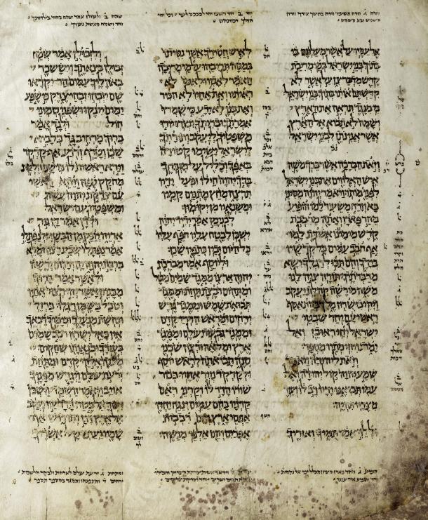 Codex Aleppo als Beispiel für Vokalisierung, kleiner und großer Masora; ca. 920 [wiki: Masoretische Texte]