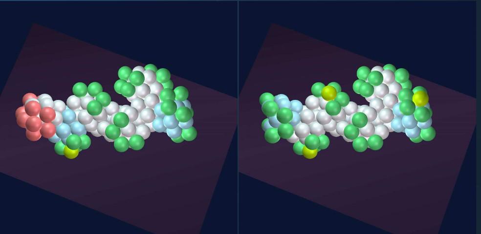 Abb. 4: Typische Spaltergebnisse von Uran 235: Barium (links) und Xenon (rechts) [Kaal, 36]